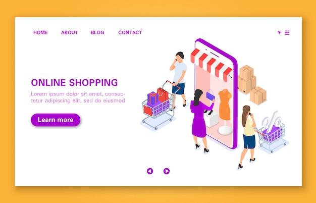 Das konzept des fraueneinkaufs im online-shop