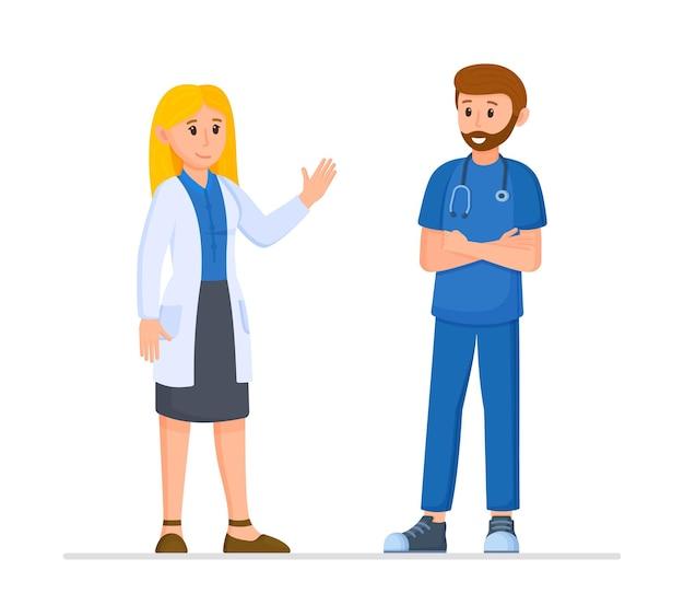 Das konzept des gesundheitswesens und der krankenversicherung vector flache illustration medizinisches treffen