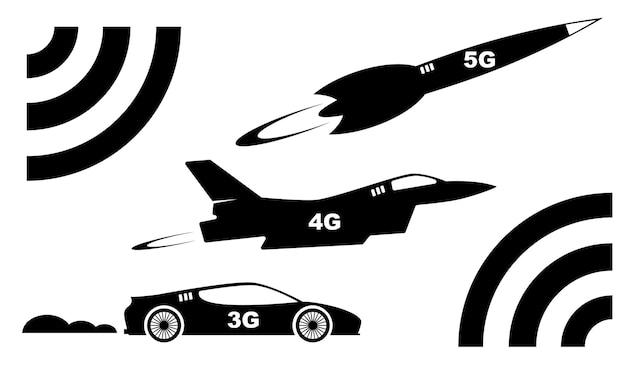 Das konzept des highspeed-5g-internets. geschwindigkeitsvergleich von 3g, 4g und 5g. vektorbild eines sportwagens, eines flugzeugs und einer rakete im vergleich internetgeschwindigkeiten. isoliertes bild auf weiß
