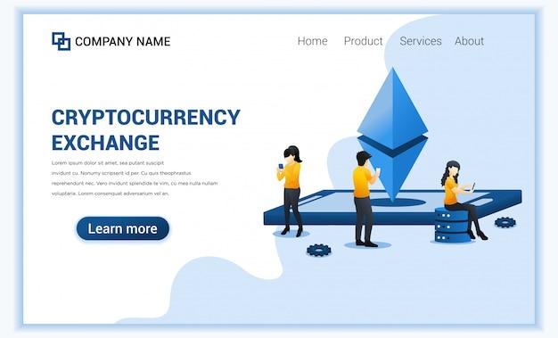 Das konzept des kryptowährungsaustauschs mit personen auf mobiltelefonen ist der austausch von bitcoin und digitalen währungen.