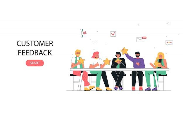 Das konzept des kundenfeedbacks. die leute sitzen am tisch, diskutieren und bewerten das service-banner des unternehmens
