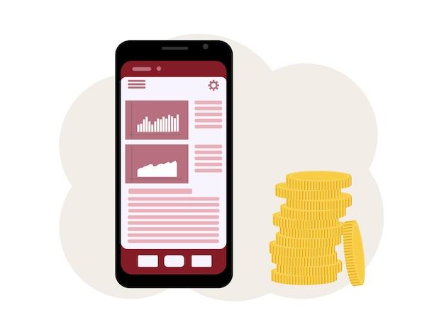 Das konzept des online-gamings an der börse. ein telefon mit einem bild von diagrammen und einem haufen münzen daneben. vektor-illustration