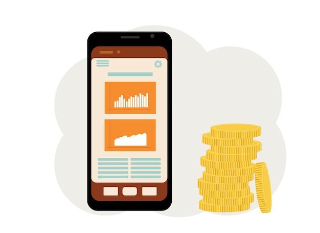Das konzept des online-gamings an der börse. telefon mit grafiken und einem haufen münzen daneben