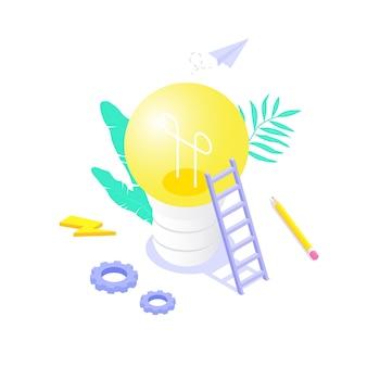 Das konzept einer großen idee und kreativität