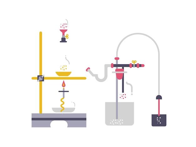 Das konzept experimentiert mit der chemischen ausrüstung. webbanner, der chemische experimente durchführt.
