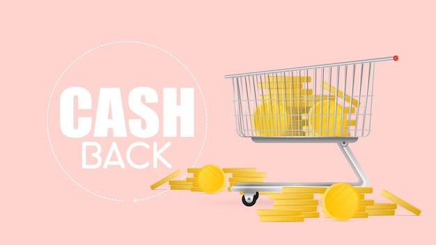 Das konzept von cashback und einsparungen bei einkäufen. der einkaufswagen aus dem supermarkt ist mit goldmünzen gefüllt. einkaufswagen, goldmünzen, geld. vektor.