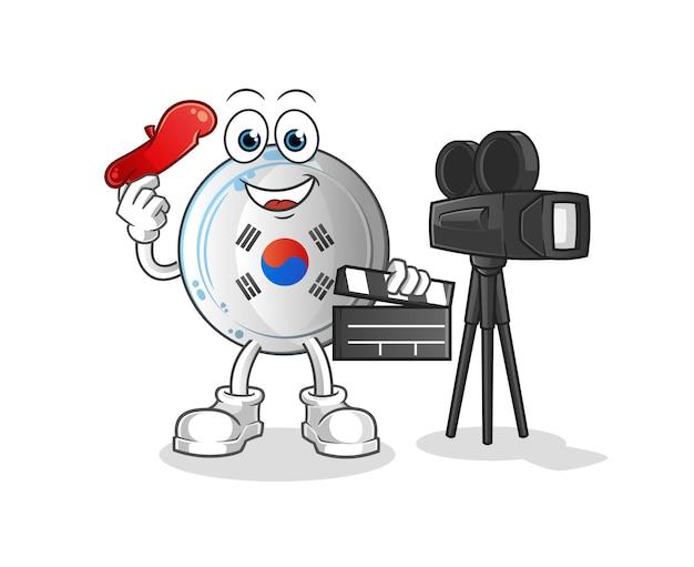 Das korea abzeichen regisseur maskottchen. karikatur