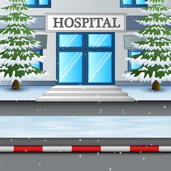 Das krankenhausgebäude in der schneewinterillustration
