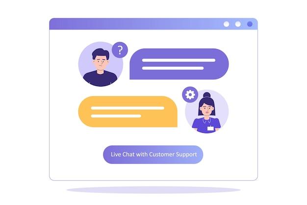 Das kunden-support-konzept mit einer frau in der support-abteilung berät den kunden im live-chat