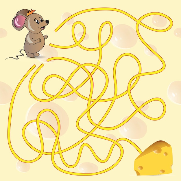 Das labyrinth-spiel der niedlichen maus hilft der maus, seinen käse zu finden - vektorillustration
