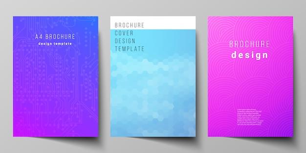 Das layout der modernen cover-modellvorlagen im a4-format für broschüren, magazine, flyer, broschüren und geschäftsberichte. abstraktes geometrisches muster mit buntem gradientengeschäftshintergrund.