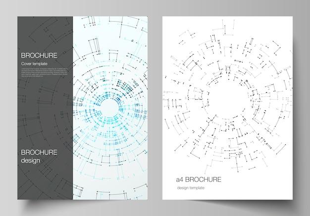 Das layout des a4-formats umfasst mockups, entwurfsvorlagen für broschüren, flyer, broschüren und berichte.