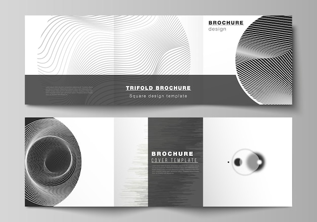 Das layout des quadratischen formats umfasst designvorlagen für dreifach gefaltete broschüren