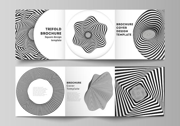 Das layout des quadratischen formats umfasst vorlagen für die dreifach gefaltete broschüre