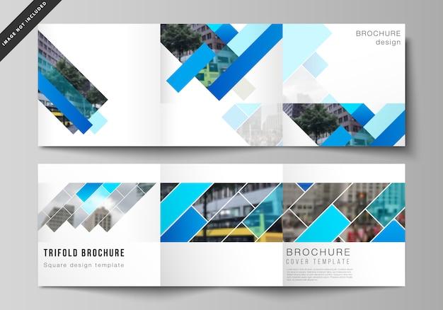 Das layout des quadratischen formats umfasst vorlagen für dreifach gefaltete broschüren