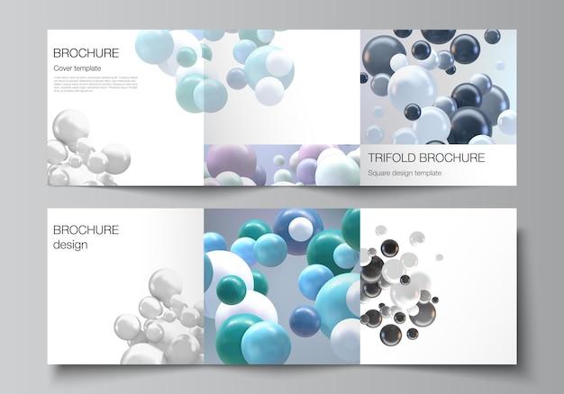 Das layout des quadratischen formats umfasst vorlagen für eine dreifach gefaltete broschüre mit mehrfarbigen 3d-kugeln, blasen und kugeln.