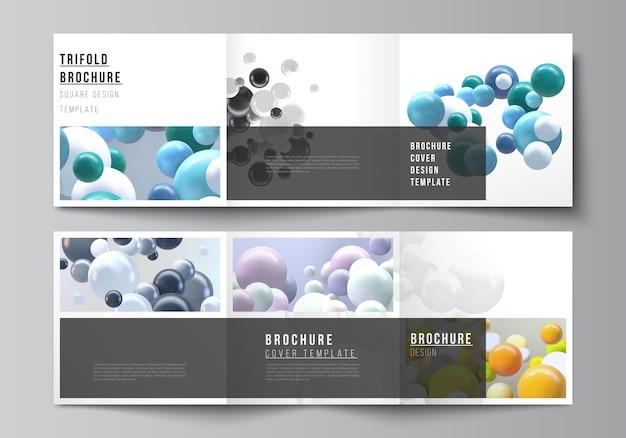 Das layout des quadratischen formats umfasst vorlagen für eine dreifach gefaltete broschüre