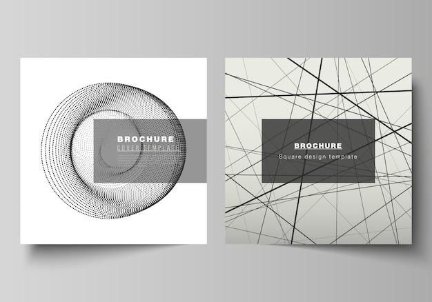 Das layout von zwei quadratischen formaten umfasst designvorlagen für broschüre, flyer und magazin. geometrischer abstrakter technologiehintergrund, futuristisches wissenschafts- und technologiekonzept für minimalistisches design.