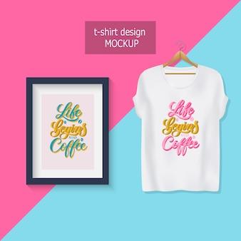 Das leben beginnt nach dem kaffee. motivierende zitate. t-shirt design.