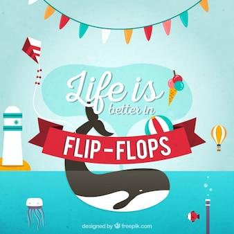 Das leben ist besser in flip-flops hintergrund