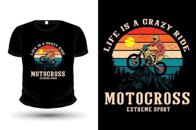 Das leben ist ein verrücktes motocross-warenillustrations-t-shirt-vorlagendesign