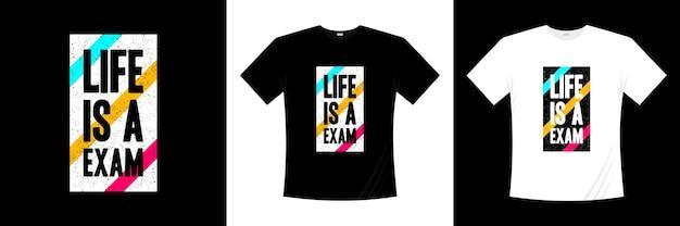 Das leben ist eine prüfung typografie t-shirt design. motivation, inspiration t-shirt.