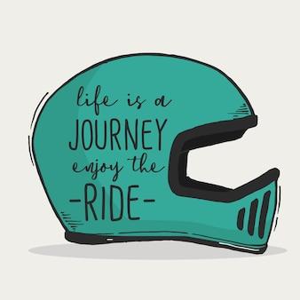 Das leben ist eine reise genießen sie die fahrt typografie hand schriftzug zitat