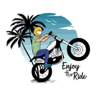 Das leben ist schön fahrt motorrad strand typografie für t-shirt druck mit palmbeach und motorrad