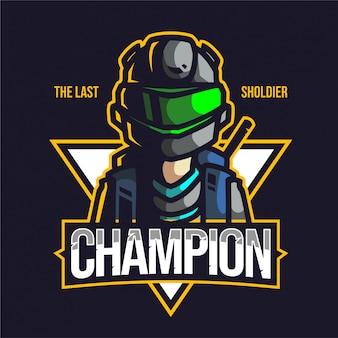 Das letzte sholdier-maskottchen-gaming-logo