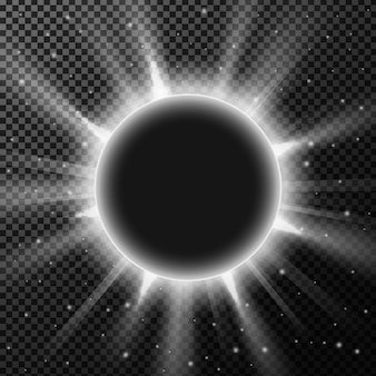 Das licht hinter dem kugelgegenstand auf transparentem hintergrund