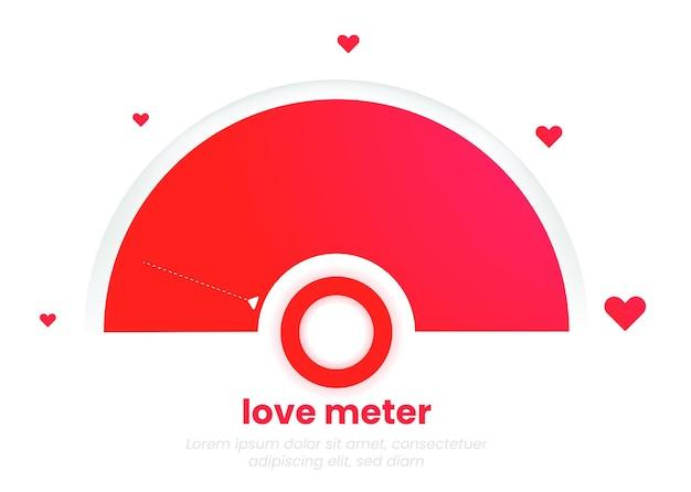 Das liebesmesser-diagramm. die romantische infografik mit herz. das minimalistische template-design in roten farben für den 14. februar oder den valentinstag.