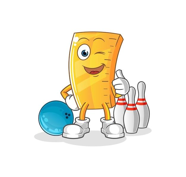 Das lineal spielt bowling. charakter