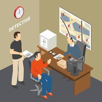 Das lösen des verbrechensermittlers, der die informationen sammelt, die mit zeugen im isometrischen büro der detektive der strafverfolgungsbehörde sprechen