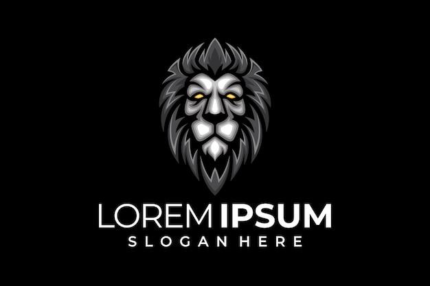 Das löwenkopf-logo ist grau