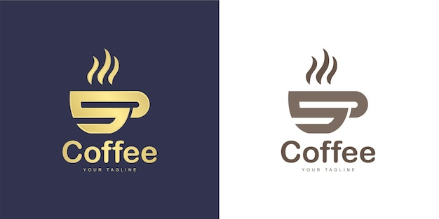 Das logo des buchstabens hat ein kaffeekonzept