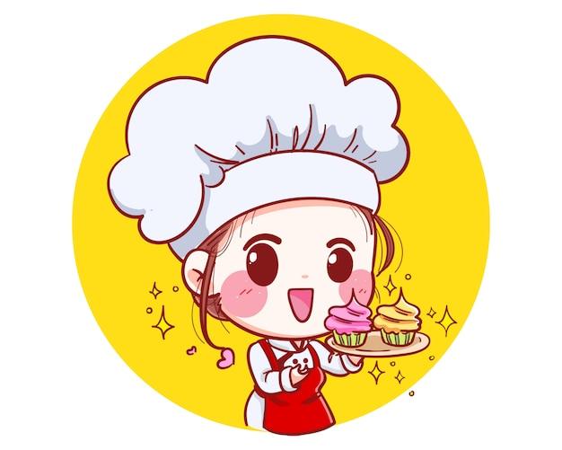 Das logo des kleinen bäckereimädchenkochs ist glücklich und lächelnd, leckere und süße lächelnillustration