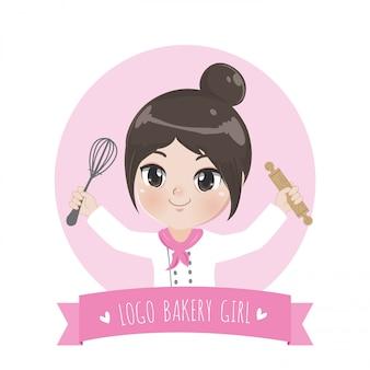 Das logo des kleinen bäckereimädchens ist ein fröhliches, leckeres und süßes lächeln.