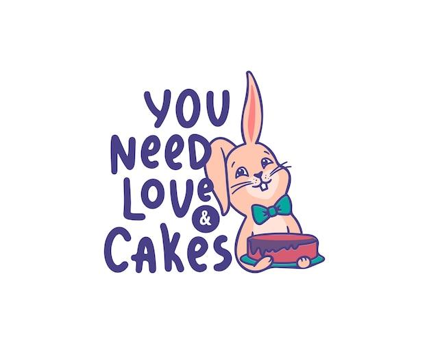 Das logo eines hasen, der kuchen an der geburtstagsfeier hält. kleines cartoon-kaninchen
