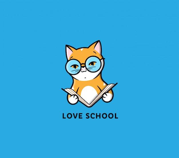 Das logo katze liest buch. lustige cartoon-katze für bildung