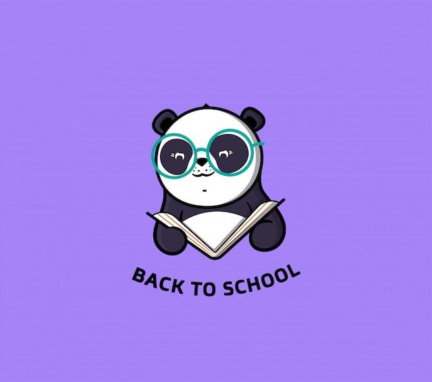 Das logo panda liest buch. lustige zeichentrickfigur für bildung