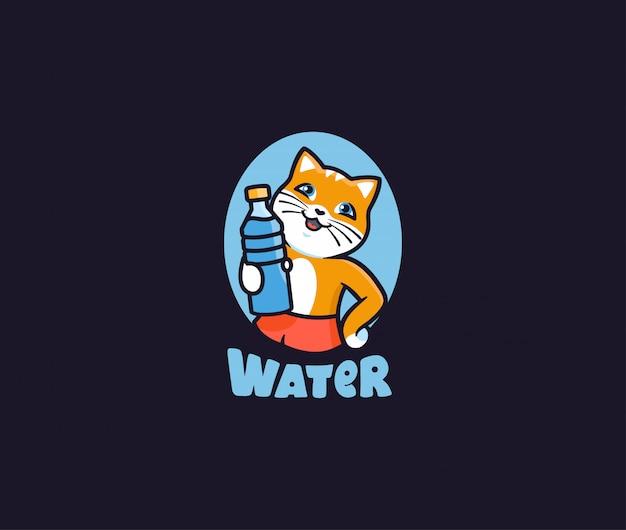 Das logo wasser. logo katze mit flasche, schriftzug, lustiges tier