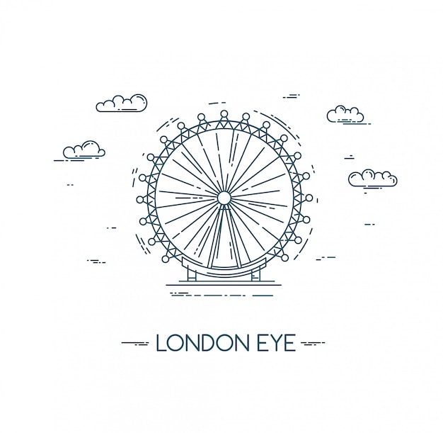 Das london eye. flache zeilendarstellung.