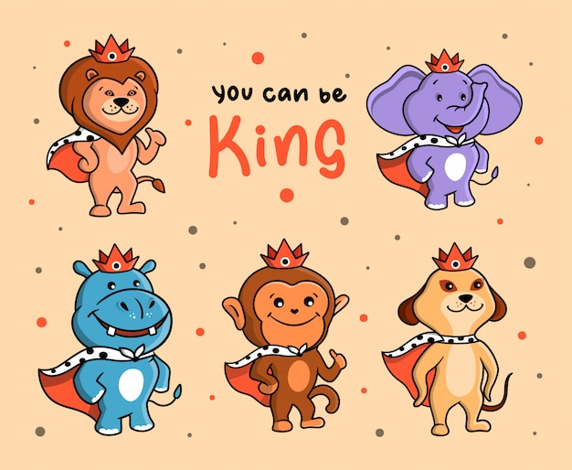 Das lustige set von tierkönigen. dschungelcharaktere mit kronen und schriftzug