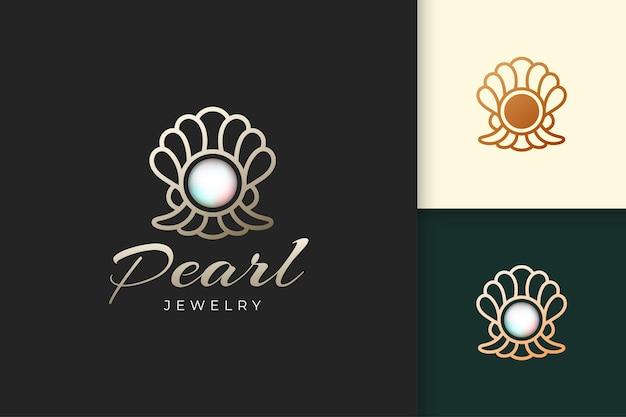 Das luxuriöse perlenlogo stellt schmuck oder edelstein dar, der für hotel oder restaurant geeignet ist