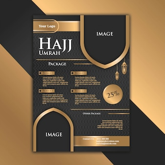 Das luxuriöse und elegante design der black gold-broschüre mit dem thema hajj trägt dazu bei, dass werbung attraktiver wird.