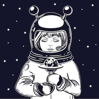 Das mädchen astronaut hält einen lutscher
