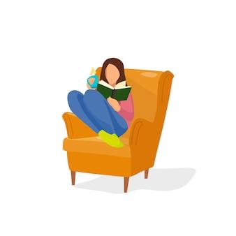 Das mädchen auf dem stuhl liest ein buch vektorillustration