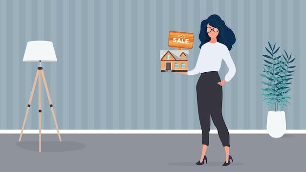 Das mädchen bietet an, ein haus zu kaufen. verkauf eines hauses oder einer immobilie. zu verkaufen zeichen. vektor