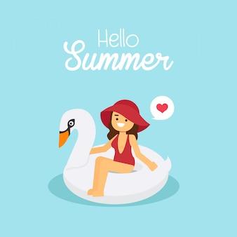 Das mädchen, das roten badeanzug trägt, gehen, in sommerferien zu reisen