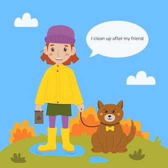 Das mädchen geht mit dem hund spazieren vektorillustration reinigen sie nach ihrem hund